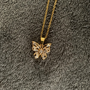 Gold crystal butterfly necklace