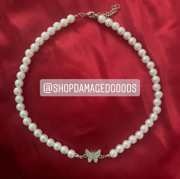 Pearl Butterfly Necklace Choker
