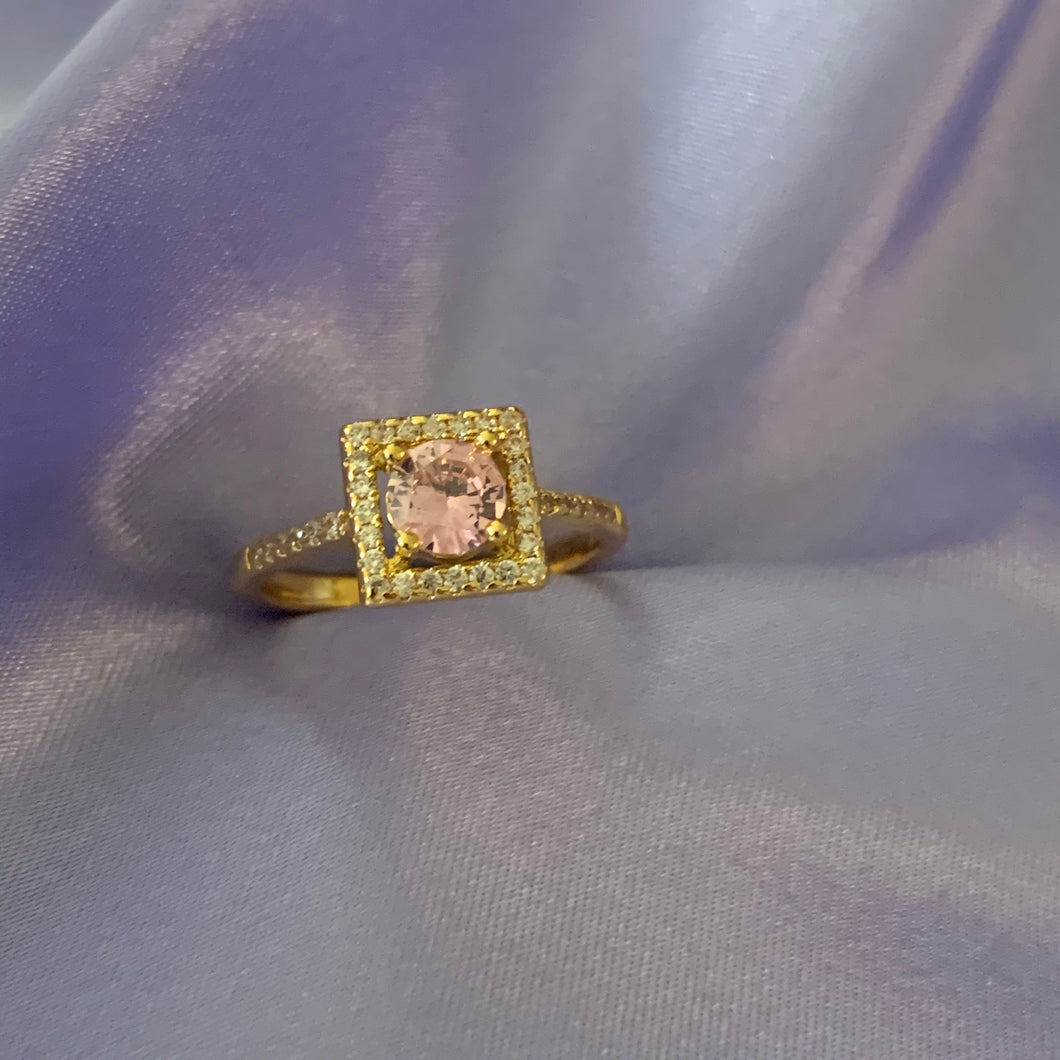 Gold pink square ring