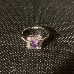 Silver purple square ring