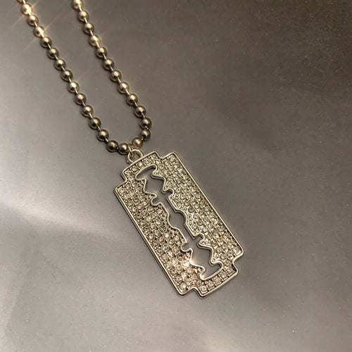 Crystal razor blade necklace