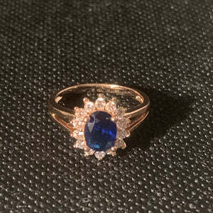 Rose gold blue stone ring