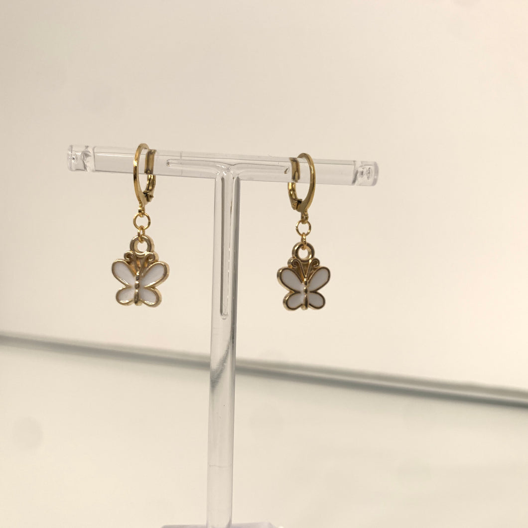 Gold and white butterfly earrings
