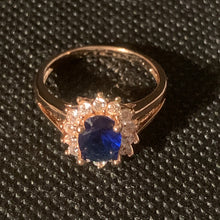 Load image into Gallery viewer, Rose gold blue stone ring