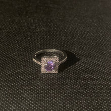 Load image into Gallery viewer, Silver purple square ring