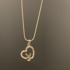 Crystal playboy heart necklace