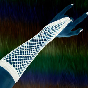 White fishnet gloves
