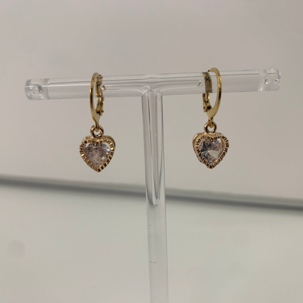 Gold crystal heart earrings
