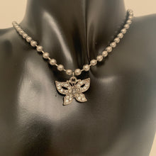 Load image into Gallery viewer, Crystal Butterfly ball chain choker
