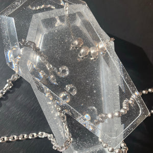 Clear coffin jewelry box