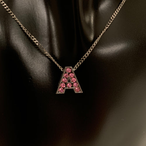 Custom pink crystal letter necklace