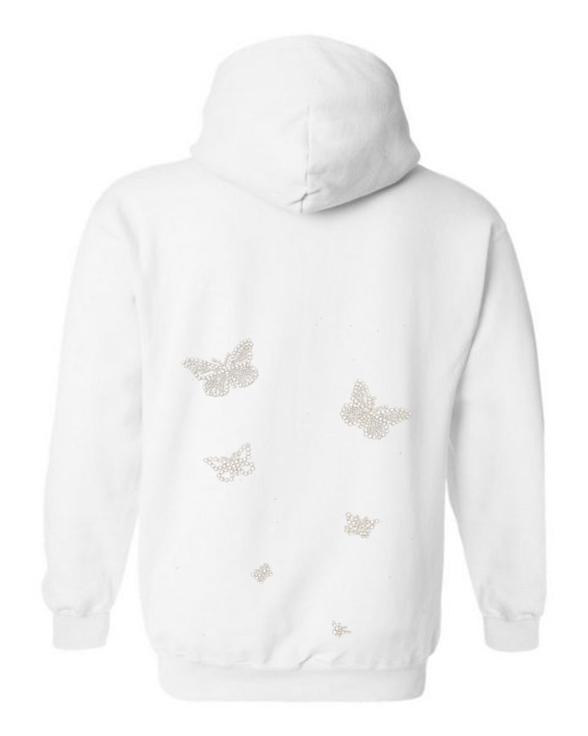 White Crystal Butterfly Hoodie