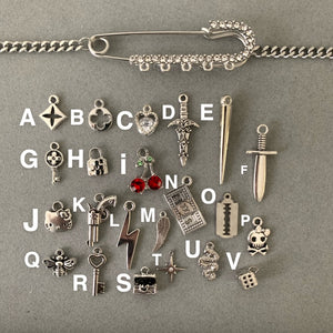 Custom crystal safety pin necklace
