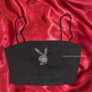 Straight neck playboy cropped tank