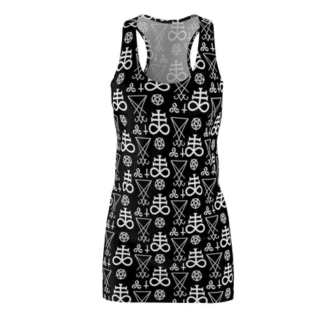 Women's Occult Symbol Racerback Dress-Grave Dirt Clothing