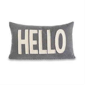 Hello Washed Canvas Pillow