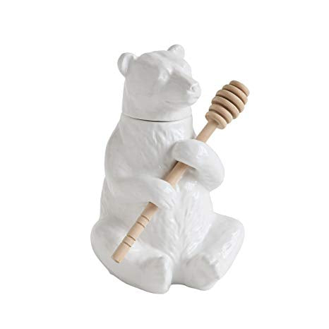 White Bear Honey Pot with Bamboo Dipper