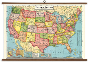 USA Map Wall-Hanging School Chart *FOR PORCH PICK-UP ONLY* UNABLE TO SHIP