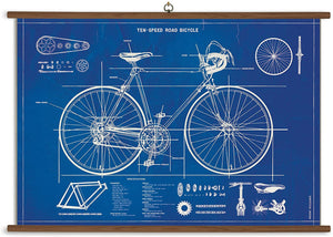 Bicycle Blueprint Wall-Hanging School Chart *FOR PORCH PICK-UP ONLY* UNABLE TO SHIP