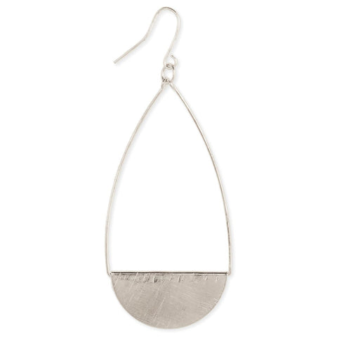 Brushed Silver Teardrop Earring