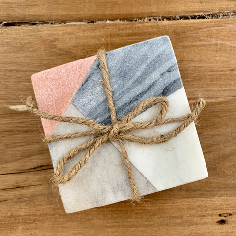Pink + Gray Marble Coaster Set