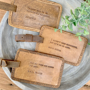 Quote Leather Luggage Tags