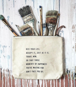 Quote Canvas Zip Pouches