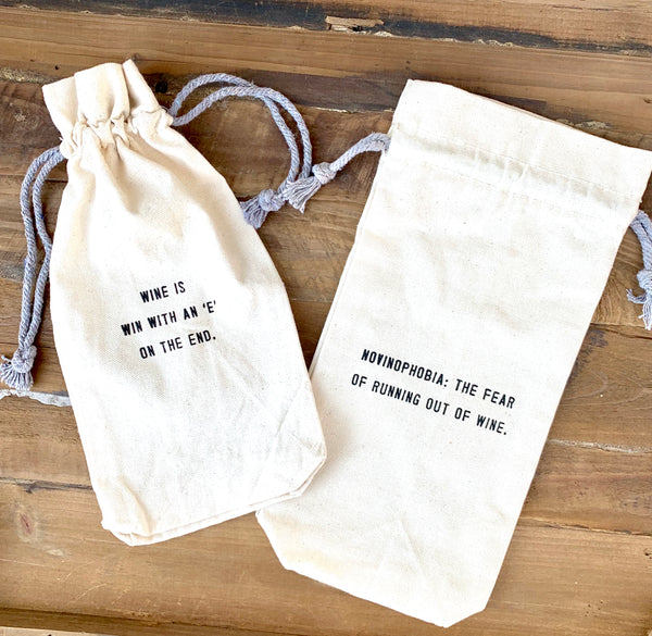 Canvas Quote Wine Bags