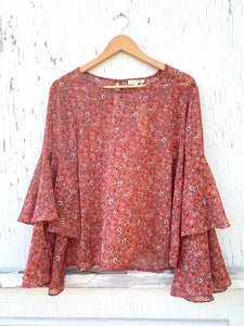 Floral Tiered Bell-Sleeve Blouse