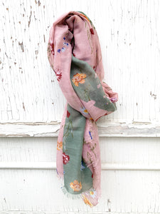 Pretty Pink Floral Scarf