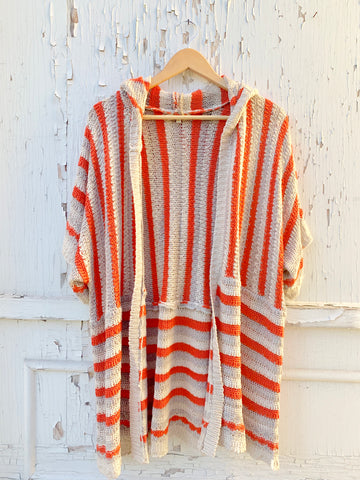Citrus Striped Open-Front Knit with Hood