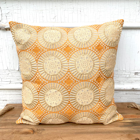 Sun Ray Embroidered Throw Pillow