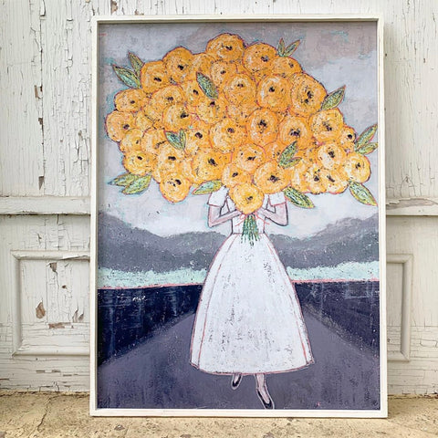 Girl with Flowers Framed Wall Art *PORCH PICK-UP ONLY* UNABLE TO SHIP