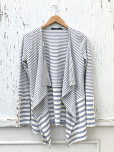 Grey Stripe Open Cardi