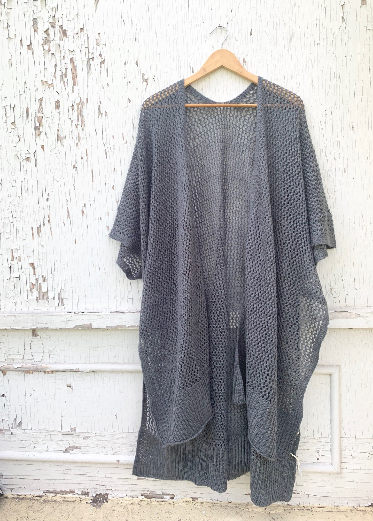Sandy Tides in Navy Open Weave Poncho