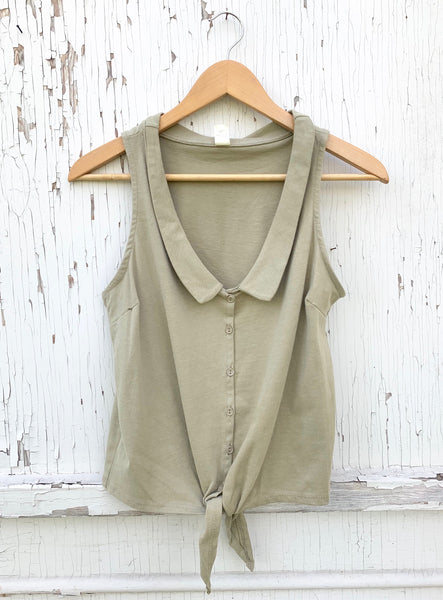 Olive French Collar Top