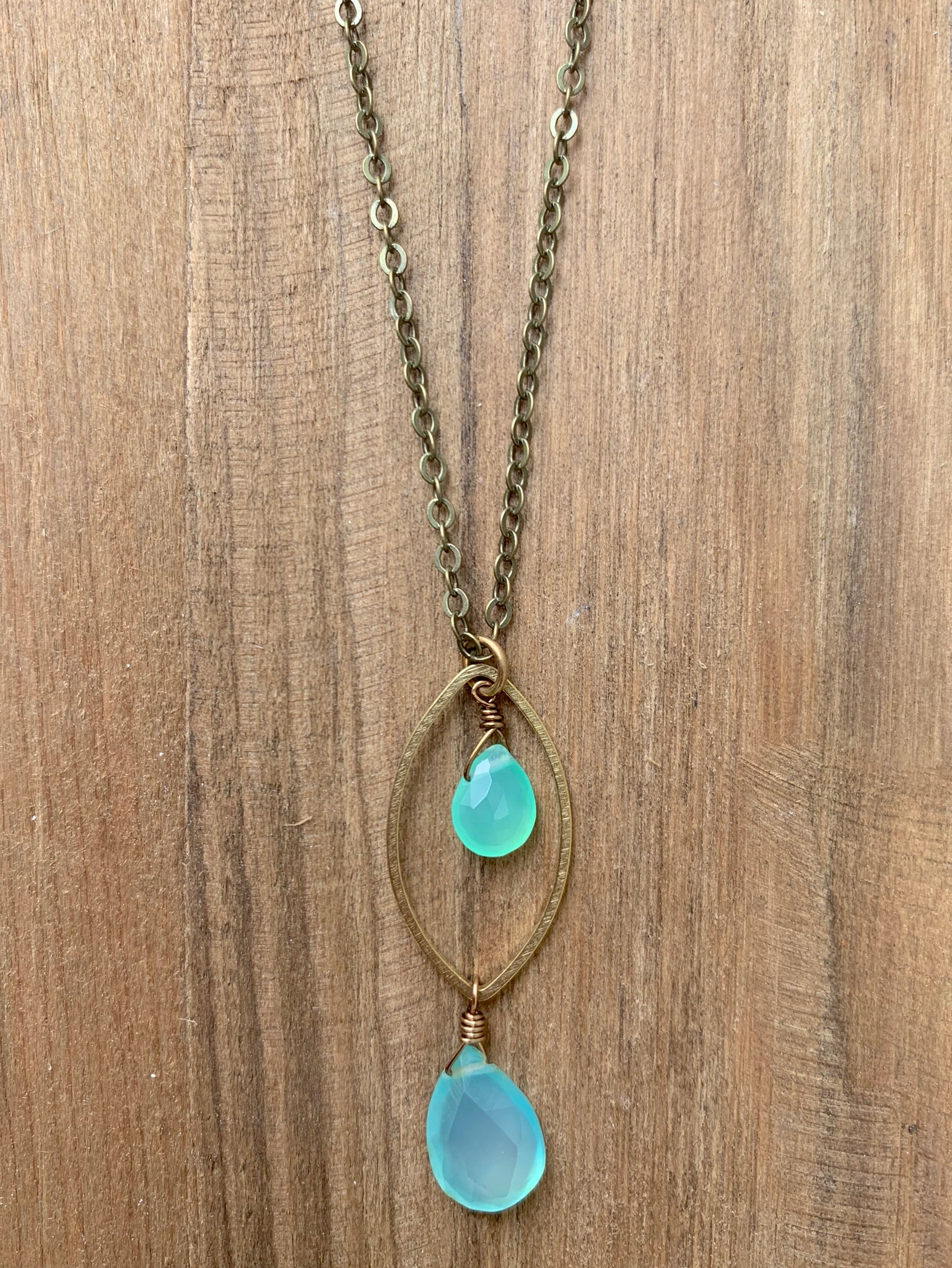 Double Aqua Crystal Necklace