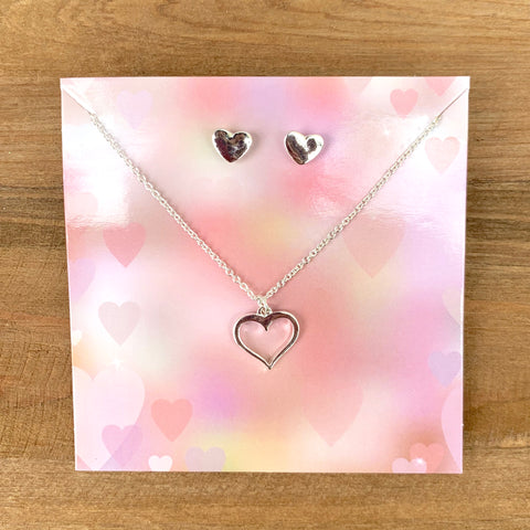 Heart Necklace + Earring Set