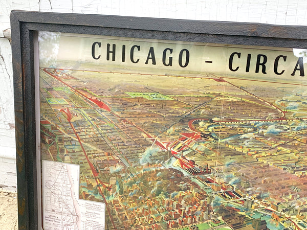 Chicago Circa 1902 Railroad Terminals Framed Map *PORCH PICK-UP ONLY* (UNABLE TO SHIP)