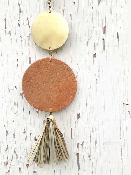 Gilded Clay + Palm  Hanging Decor