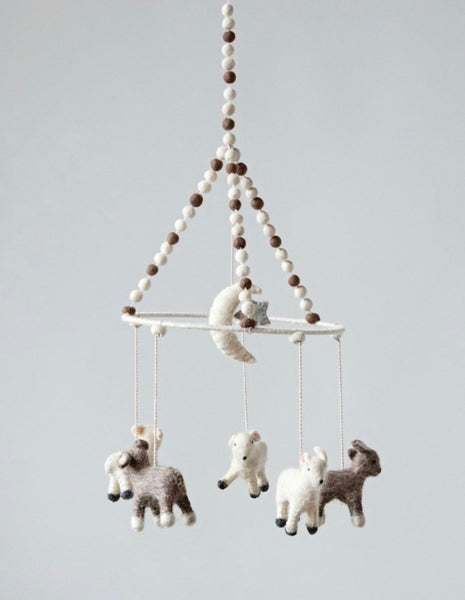 Wool Baby Lamb Animal Mobile