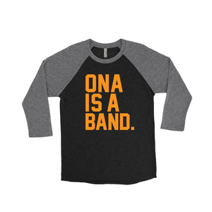 Ona is a Band baseball t-shirt