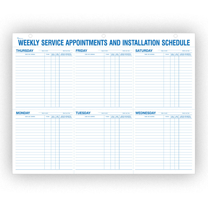 "Weekly Service Appt & Inst Schedule - 9927 - 22"" x 17"" 52 Per Pad - Independent Dealer Services"