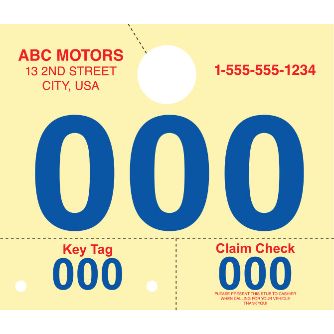 "Custom RL-78 Dispatch Numbers - 7""x6""- Set of 1000 - Independent Dealer Services"