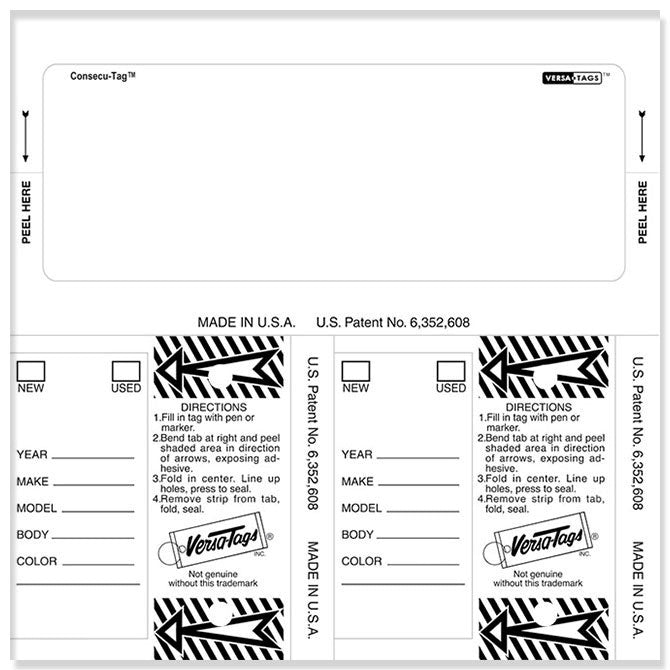 Consecu-Tags - #226 - Qty. 125 Per Box With Rings - Blank - Independent Dealer Services