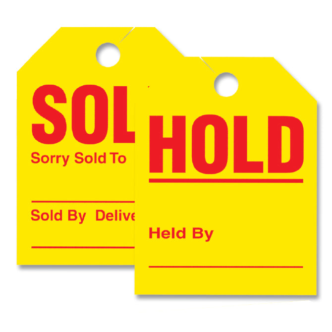"Mirror Hanger Sold/Hold Tags - #280-SH - 8.5"" x 11.5"" Qty. 50 - Independent Dealer Services"