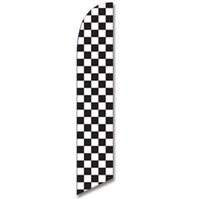 Swooper Banner - CHECKERED FLAG (BLACK & WHITE) - Qty. 1 - Independent Dealer Services