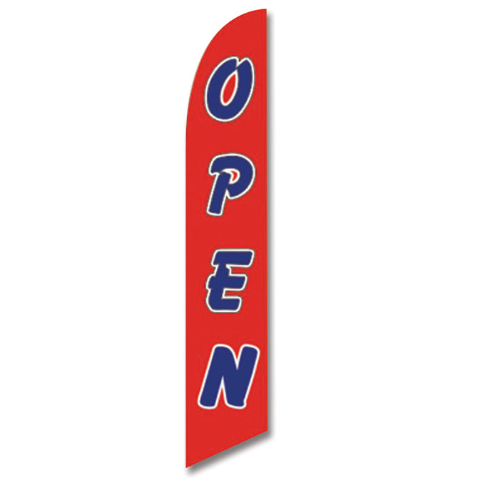 Swooper Banner - OPEN (BLUE LETTER/RED BACKGROUND) - Qty. 1 - Independent Dealer Services