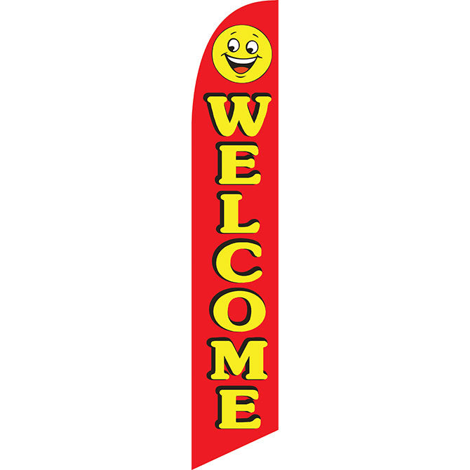 Swooper Banner - Welcome w/Smiley Face (Red) - Qty. 1 - Independent Dealer Services