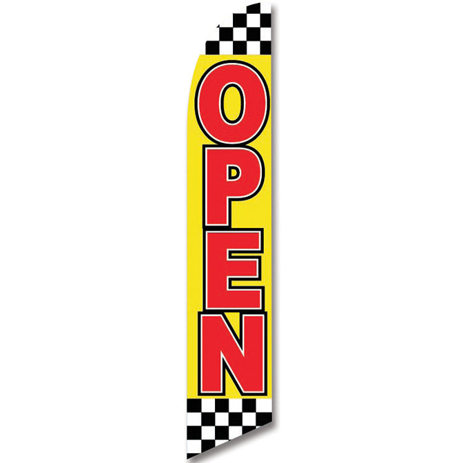 Swooper Banner - CHECKERED FLAG - OPEN - Qty. 1 - Independent Dealer Services